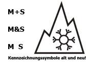 Kennzeichnungssymbole für Winterreifen